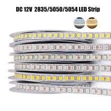 5m tira conduzida 2835 5050 5054 120 240leds/m dc12v flexível fita fita fita lâmpada luz natural/branco quente