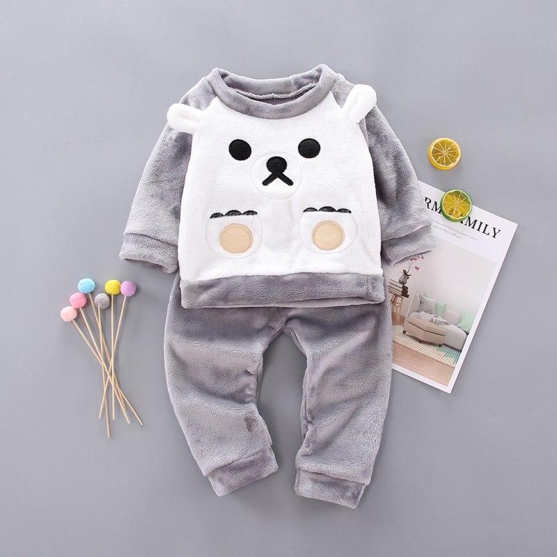 2019 Winter Kids   Pajamas     Sets   Warm Pyjamas For Boys Thicken Girls Sleepwear flannel 2-5 years Fleece Baby Thermal Underwear   set