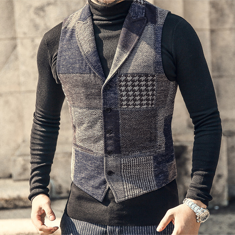 YUSHU Vintage Plaid Wool Tweed Men Vest Slim Fit Lapel Waistcoat For Wedding Groomsmen Formal Business Vest Chalecos Para Hombre