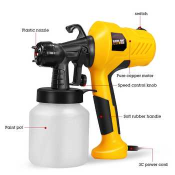 400W 800ML Spray Gun with Compressor Spray Gun Airless Sprayer Household Paint Sprayer Electric Spray Gun Easy To Spray Car