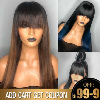 Blue Wig Ombre Lace Front Bang Wig Colored Human Hair Wigs With Bang 13x6 Brown Color Straight Lace Frontal Wigs Remy - DISCOUNT ITEM  44% OFF All Category