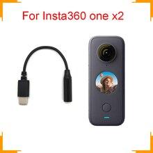 Insta360 one x2 adapter mikrofonu oficjalny mikrofon adapter audio ręczne akcesoria do kamery sportowej garnitur do uniwersalnego mikrofonu 3.5mm