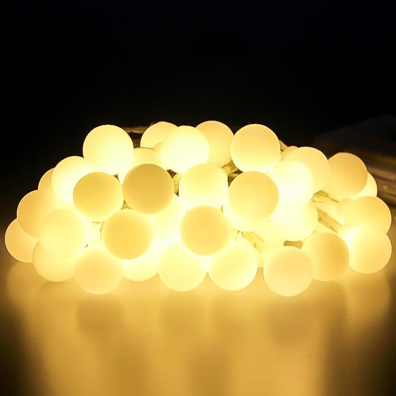 5m 50 LED Garland Ball String Lights Christmas Tree Wedding Street Decoration Waterproof Fairy Light Indoor Outdoor 220V EU Lamp