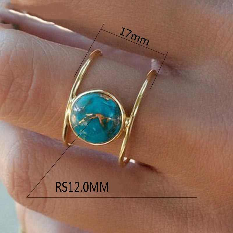 ทองสีแหวนหินสีเขียวสำหรับสตรีขนาดใหญ่งบเลียนแบบหินธรรมชาติเครื่องประดับหมั้นแหวนแฟน Gif