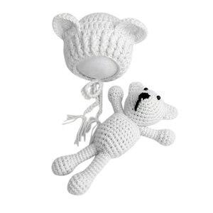 Accesorios de fotografía recién nacido, gorros de bebé, sombrero + oso, conjunto de muñecos de juguete, atuendo de ganchillo tejido para bebé niña