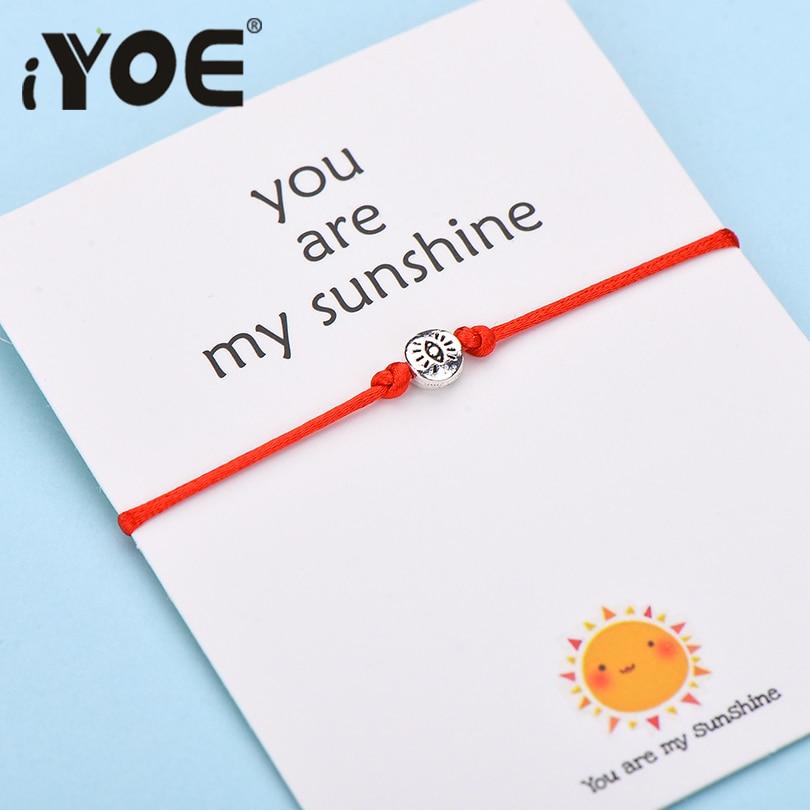 IYOE Wish Card You Are My Sunshine Eye браслеты для женщин, мужчин, детей, подарок на день рождения, винтажный браслет ручной работы с красной нитью