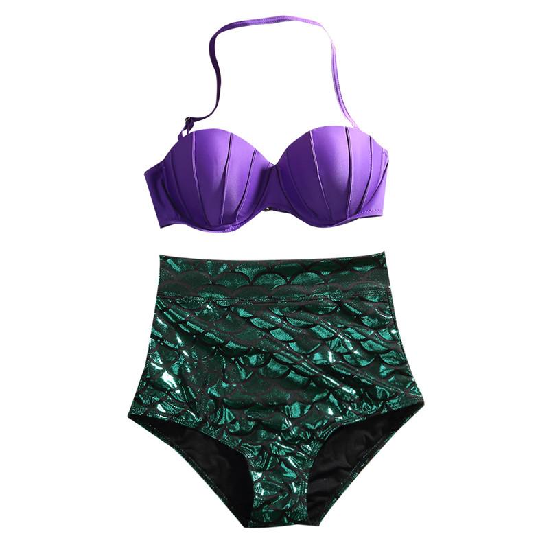 Hirigin Для женщин бандажный купальник бикини пуш-ап бюстгальтер Mermaid купальник в виде ракушки, одежда для плавания и купания, комплект из 2 пред... 19