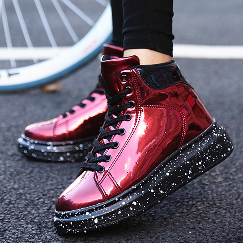 Women Sneakers Patent leather High Top Thick Bottom Mirror Ankle Ladies Shoes Fashion Chunky Platform Sneakers Plus size 36-42