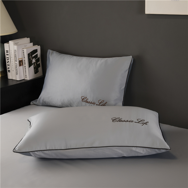 TWO Side 100% satin silk Pillowcases Envelope Pure Silk Embroidery Pillow Case Pillowcase for Healthy Sleep Multicolor 48x74cm 2