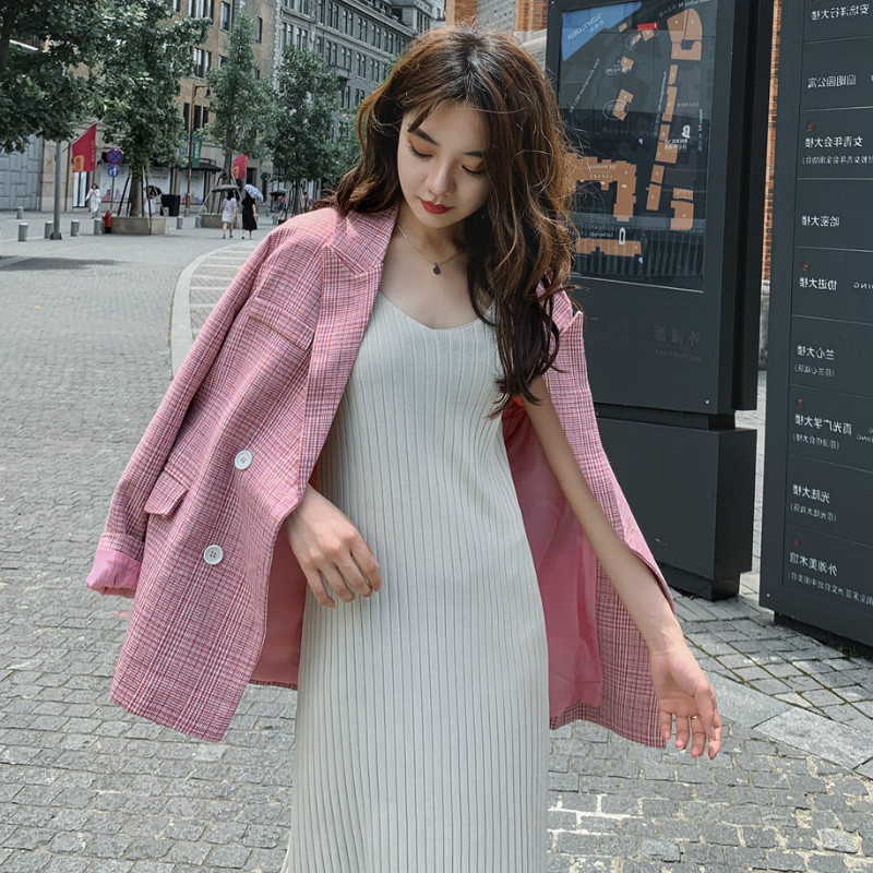 Vintage Casual Ladies Blazer 2019 Autumn New Double-breasted Pink Plaid Women's Jacket Fashion Little Suit Female High Quality