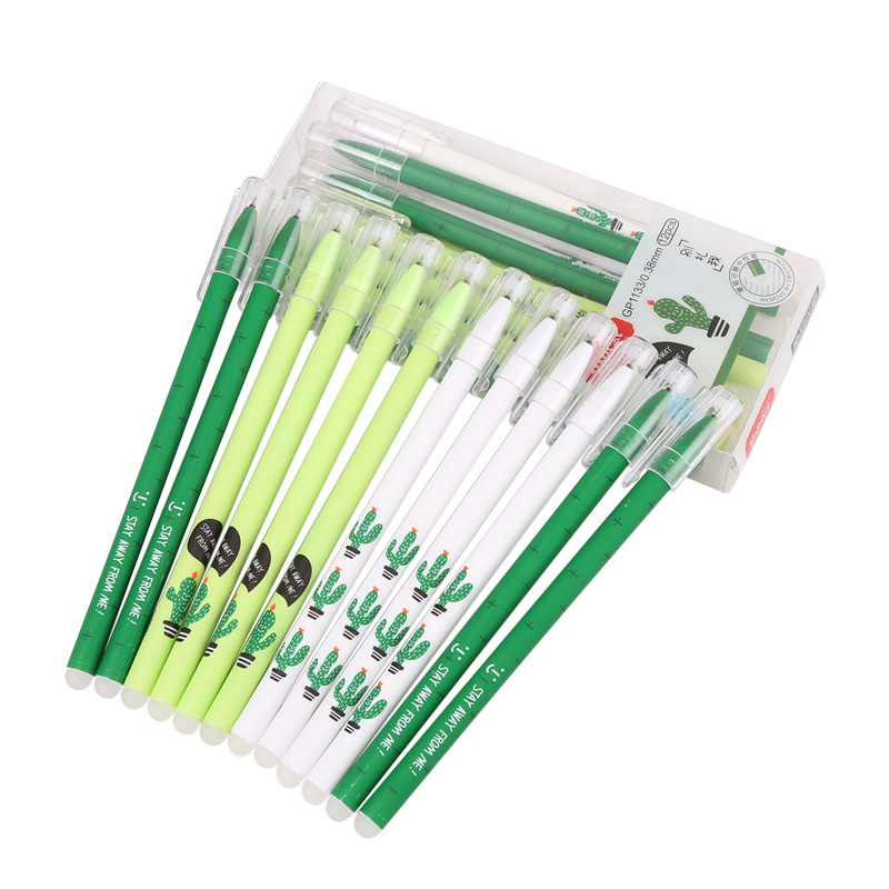 3 Pcs/lot Fresh Green Cactus Erasable Gel Pen Ink Pen Promotional Gift Stationery School & Office Supply