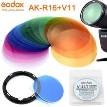 Godox AK R16 manyetik dağı difüzör plakası V 11C/V 11T renk efekti jel seti Godox V1 serisi flaş işık speedlite
