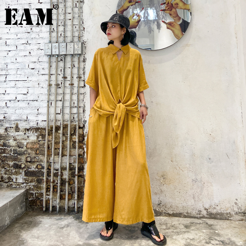 [EAM] Wide Leg Pants Two Piece Suit New Lapel Three-quarter Sleeve Black Loose Fit Women Fashion Tide Spring Autumn 2020 1T777