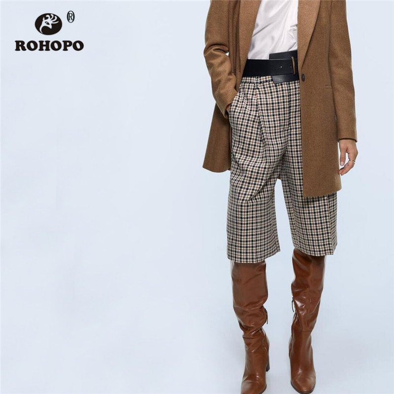 ROHOPO High Waist Tweed Houndstooth Knee Length Shorts Front Zipper Clouse Back Welted Pockets Loose Straight Shorts #357
