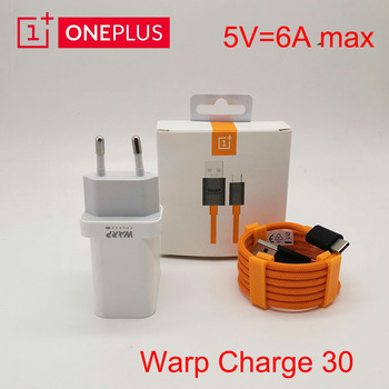 Original OnePlus 8 7t pro 7 Warp Charge 30 Power Adapter EU US Charger Cable Quick Charge For OnePlus 7 Pro 5V 6A One plus 7pro