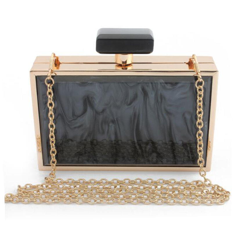 Clutch-Bag Wedding-Bags Acrylic-Box Party-Chain Square Crossboday-Bag Shoulder Casual
