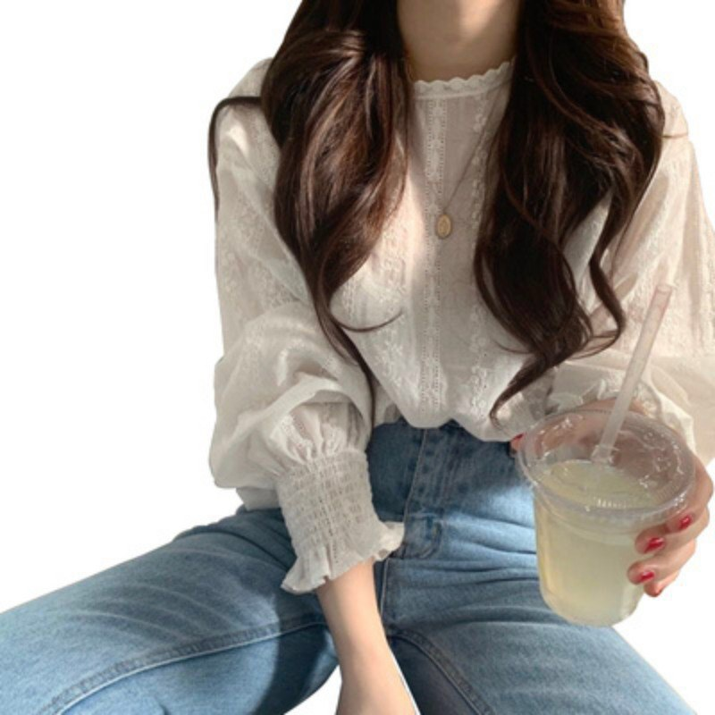 Women Chiffon Round Neck Summer Solid Color Lace Long-sleeved Puff Sleeve Lace Bottoming Blouse Casual Tops
