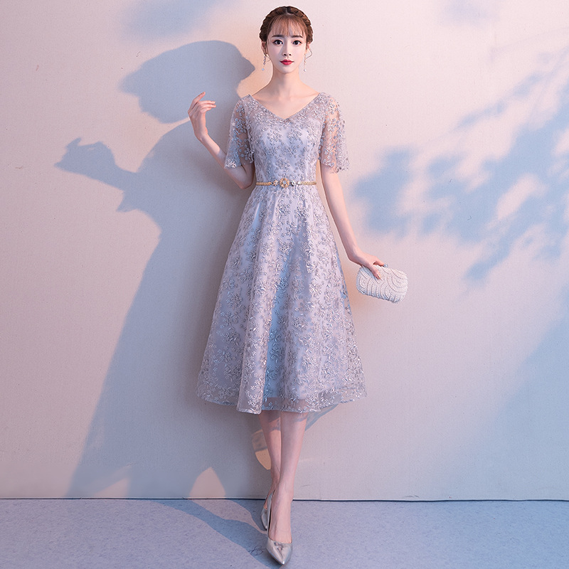 Formal Dress Women's 2019 New Style Autumn Banquet Slimming Debutante Dress Small Formal Dress Mid-length Birthday Party Dress