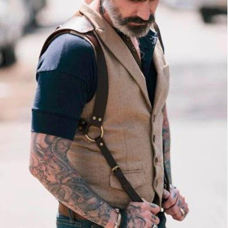 Мужские кожаные экзотические топы, фетиш, для мужчин, геев, нагрудный ремень, регулируемый, для мужчин, ремни, панк, Рейв, костюмы для БДСМ, св...