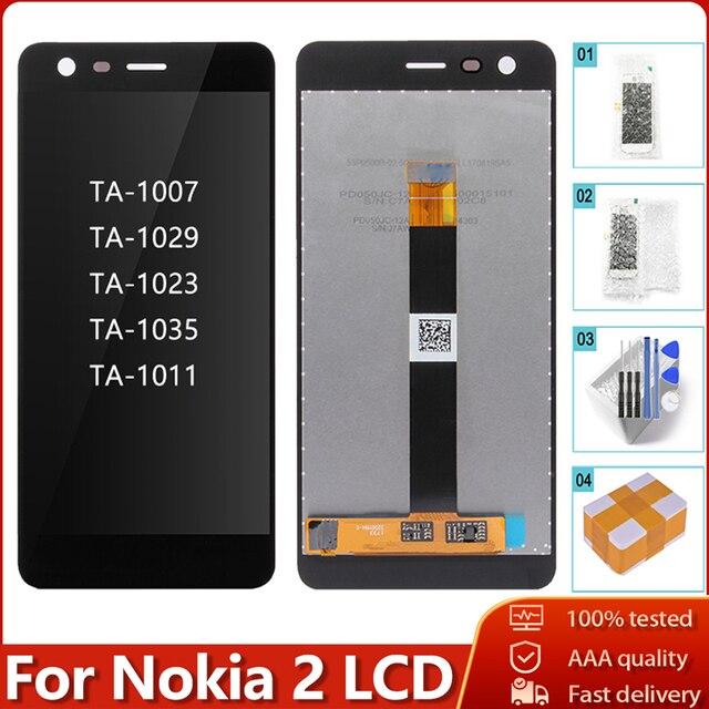 100% 오리지널 노키아 2 N2 TA 1007 TA 1029 TA 1023 TA 1035 TA 1011 LCD 디스플레이 터치 스크린 디지타이저 어셈블리 교체