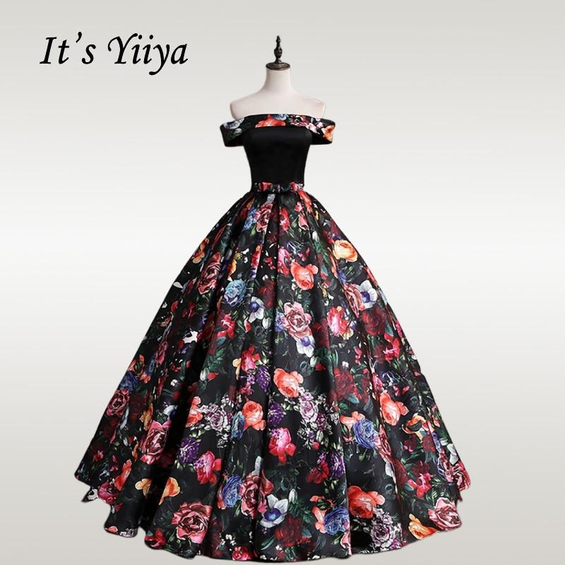 It's YiiYa Wedding Dress Vintage Floral Print Boat Neck Wedding Dresses Plue Size Floor Length Off Shoulder Robe De Mariee CH162