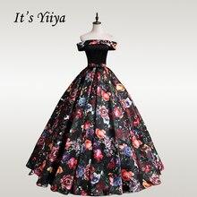 цена на It's YiiYa Wedding Dress Vintage Floral Print Boat Neck Wedding Dresses Plue Size Floor Length Off Shoulder Robe De Mariee CH162