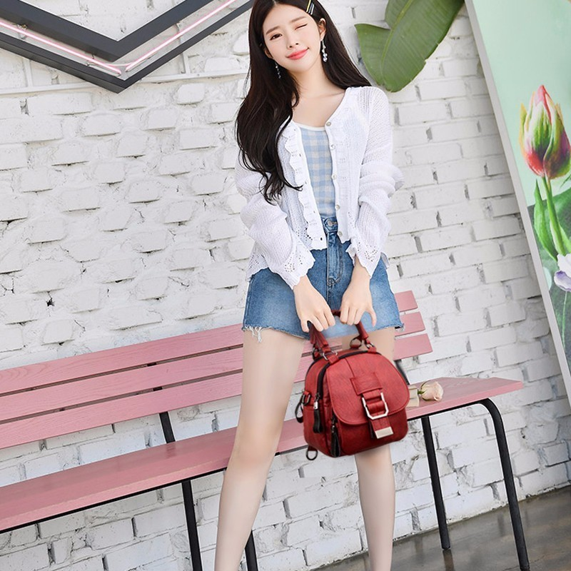 Image 4 - High Quality Female Multifunction Leather Backpacks 2019 Women 