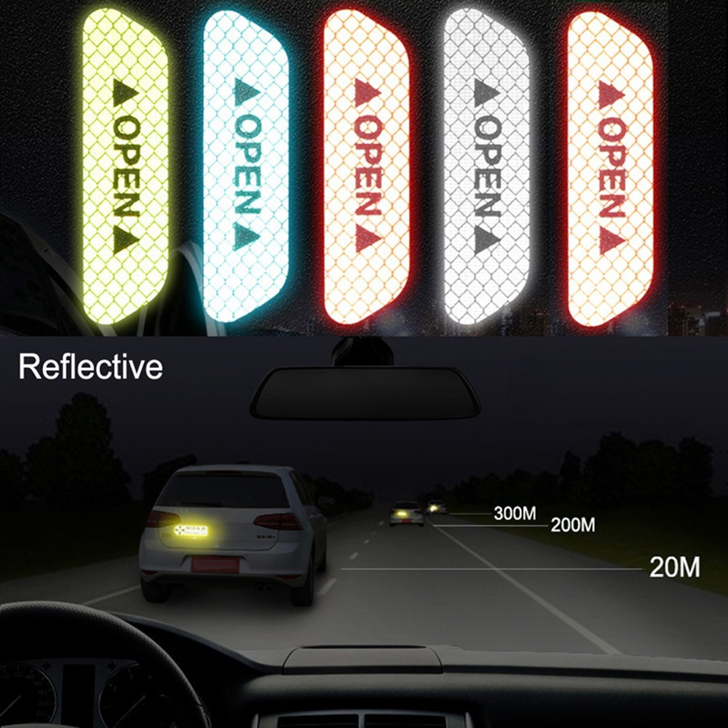 4pcs Car Door Safety Reflective Tape Open Sign Stickers Alert Decals Night Self Adhesive Warning Mark