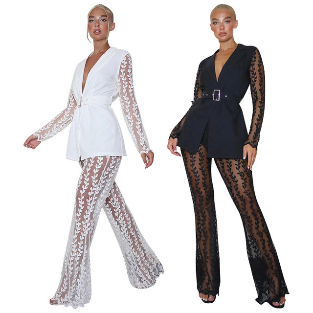 2021 Fashionable Women Lace Party Outfits Embroidery Two Piece Sets Lady's V-Neck Sashes Tops High Waist See Through Flared Pant 1