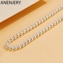 ANENJERY Simple 925 argent Sterling chanceux perles colliers pour les femmes chaîne courte tour de cou collares S-N554