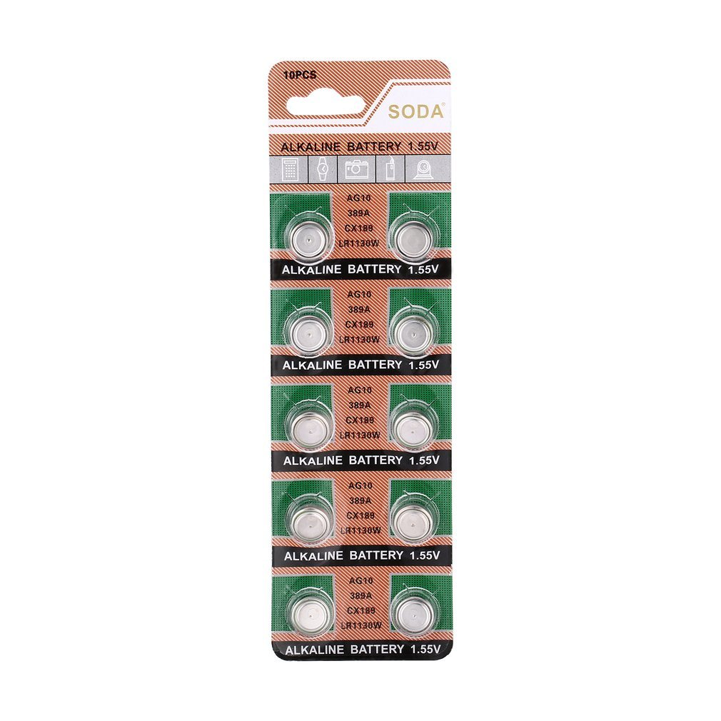 10pcs/pack <font><b>AG10</b></font> LR1130 389A LR54 L1131 189 Alkaline 1.5V Cell Button <font><b>Battery</b></font> for Watch Clock Promotion image