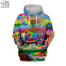 Men Women Hippie Hipster peace print 3D Hoodie trippy car Sweatshirt Long Sleeve zipper unisex rainbow Pullover casual tracksuit