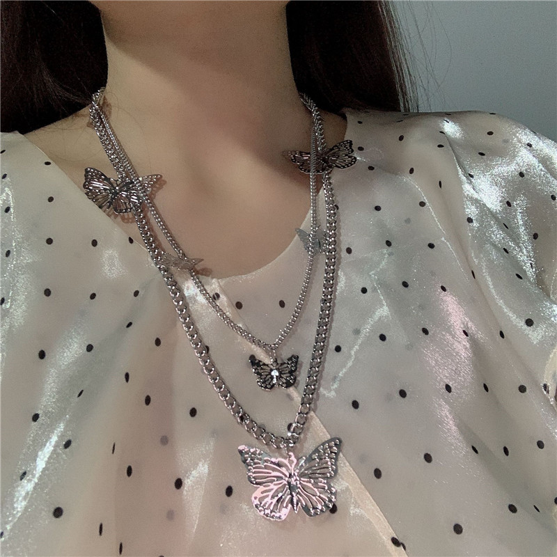 2020 Harajuku Gothic Punk Multi-layer Butterfly Pendant Metal Chain Choker Necklace For Women Egirl <font><b>BFF</b></font> kpop Aesthetic Jewelry image