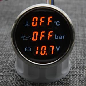 Image 3 - مقياس رقمي 3 في 1 ، شريط درجة حرارة الماء ، مقياس ضغط الزيت مع إنذار ، الفولتميتر ، مقياس درجة حرارة الماء IP67 ، الضوء الأحمر