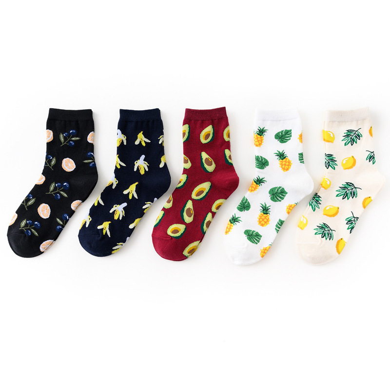 Korean Fresh Fruits Socks Lemon Avocado Pineapple Orange Pink Flamingo Short Funny Cotton Socks Women Winter Men Happy Socks
