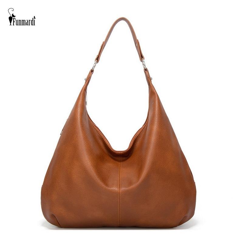 Funmardi Vintage Female Shoulder Bags Fashion Patchwork PU Leather Women Bag Hobo Ladies Handbag Big Casual Tote Bags WLHB2181