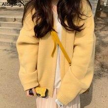 Cardigan en tricot jaune solide pour femmes, pull Simple et populaire, Chic, Ulzzang, vêtements d'extérieur ample pour étudiantes, tendance, automne