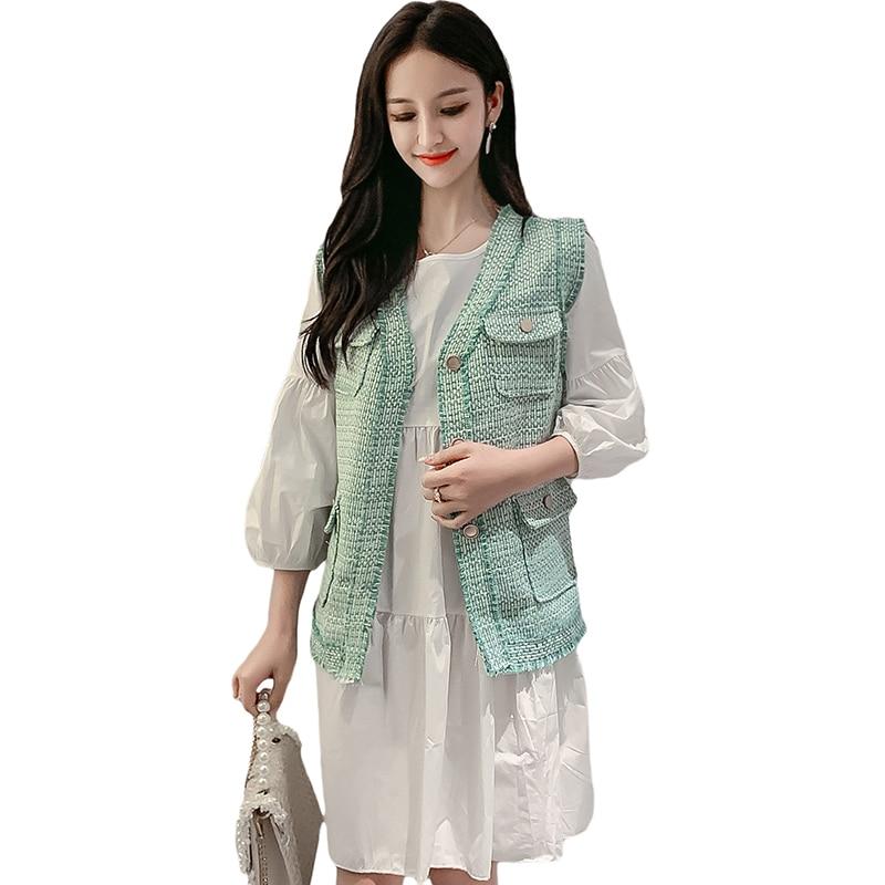 2019 nouveau automne mode femmes robe robes tenue rose vert gilet 1370
