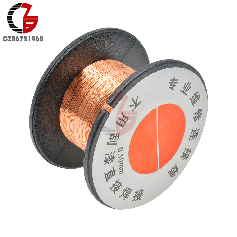 2Pcs 0.1MM Copper Soldering Solder PPA Enamelled Repair Reel Wire Jumper Wire Wrapping Wire