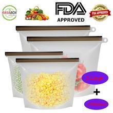 RASABOX - Reusable Silicone Food Storage Bags, Fridge Vegetable Drawer Organizer, Keep Fresh Produce Bags