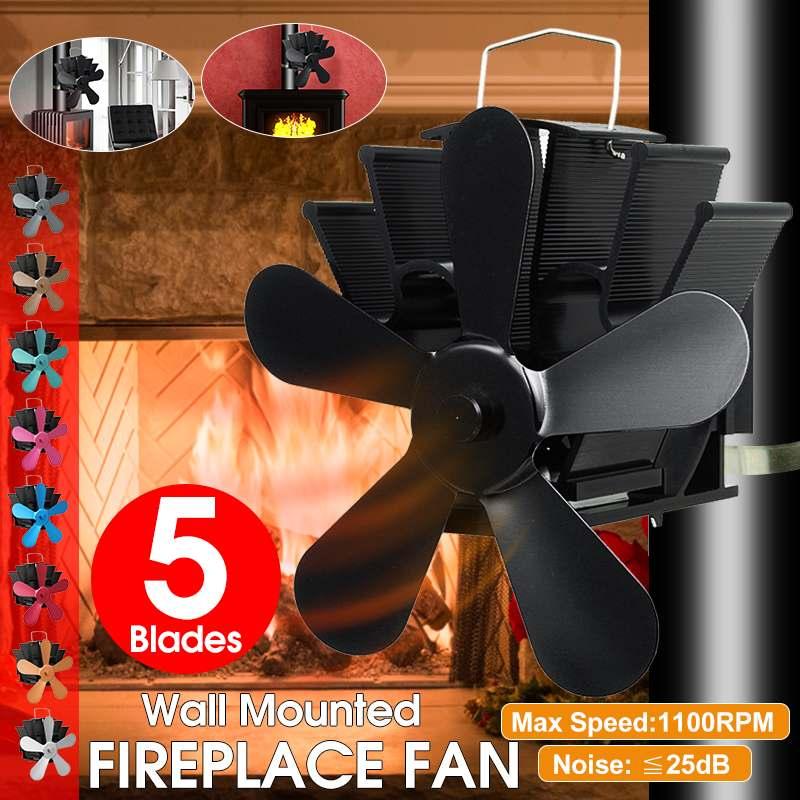 Mounted Stove Fan 5 Blade Fireplace Fan Heat Powered Komin Wood Burner Eco Fan Friendly Quiet Home Efficient Heat Distribution