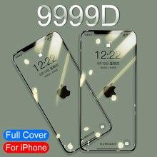 9999D 3A Gebogen Volledige Cover Gehard Glas Voor Iphone 11 Pro X Xr Xs Max Screen Protector Beschermende Glas Op iphone 11 7 8 Film