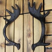 European Vintage Reindeer Antler Design Home Garden Decor Cast Iron Furniture Door Handle Cabinet Pulls Pair