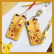 Cartoon Pokemons Pikachus Phone case Wrist Strap carry Rope for iPhone 6 6s 7 8 Plus X XR XS XSMAX Soft TPU Cover