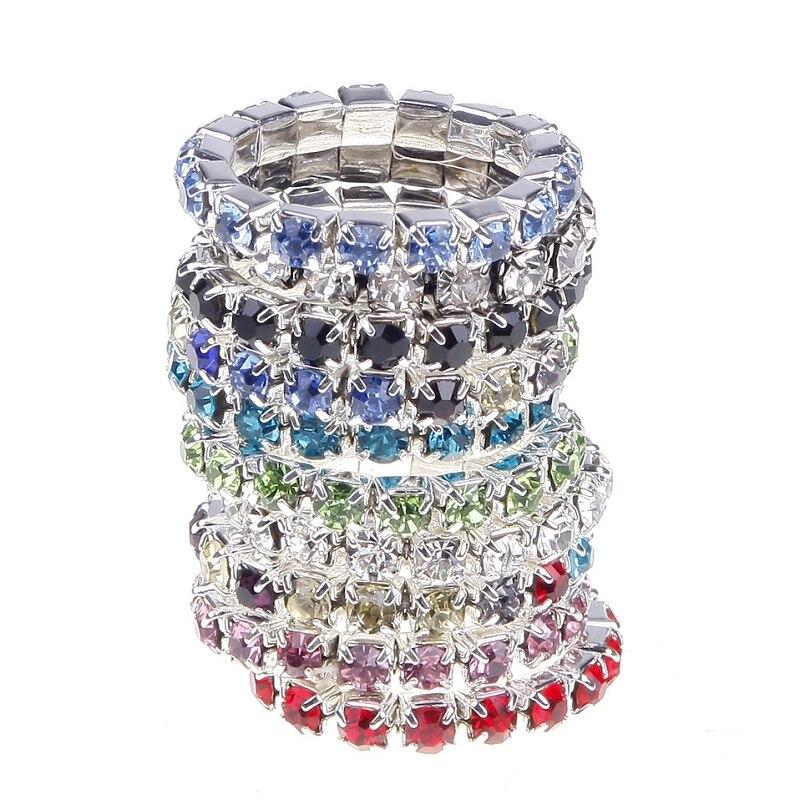 10 pçs/set Moda Elastic Anel Jóias Mulheres Cor Prata Cristal Rhinestone Anéis de Casamento Set Acessórios Do Casamento anel ajustável