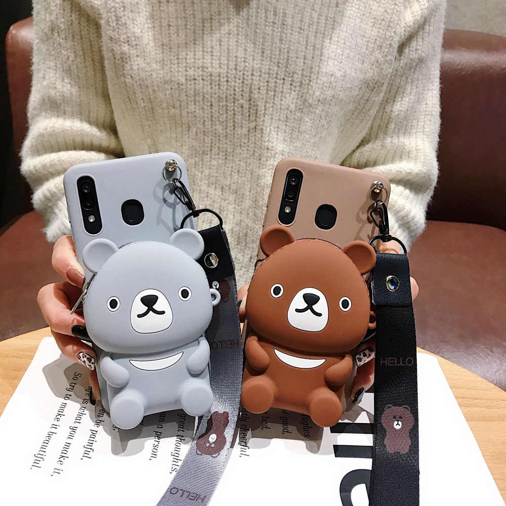 3D แมวการ์ตูน Zipper กระเป๋าสตางค์ซิลิโคนโทรศัพท์กรณีสำหรับ Samsung Galaxy J2 J7 PRIME S6 S7 EDGE S8 S9 S10 PLUS A10 กับ lanyard กรณี