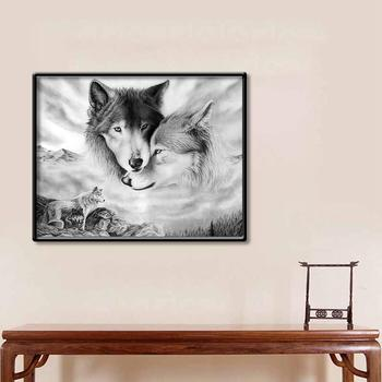 Black White Wolves Wall Art Painting Picture No Frame Poster Home Bedroom Decor image