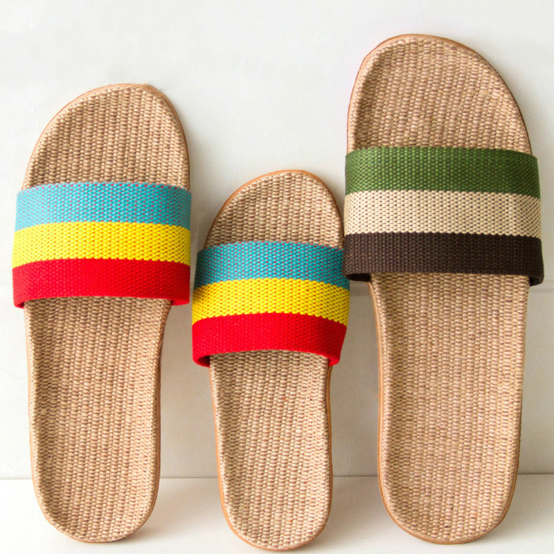 Fashion Flax Slippers Brand Design Women 2020 New Summer Indoor Home Shoes Men Linen Belt Slides Ladies Sandals Flip Flops