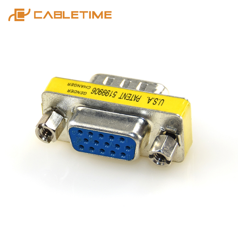 CABLETIME 2pcs 15 Pin VGA SVGA HD15 VGA Male to VGA Female Plug Coupler Mini Gender Changer Adapter Converter Computer Cable C8