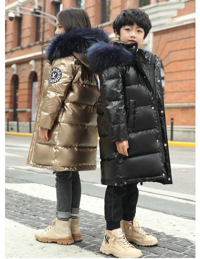 Детская длинная куртка на утином пуху, с капюшоном и натуральным мехом